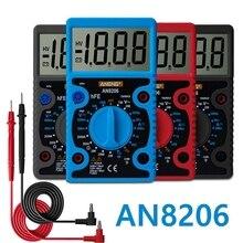 AN8206 портативный цифровой мультиметр AC/DC Амперметр Вольтметр Ом Ручной мини тестер метр ЖК дисплей подсветка сопротивление транзисторы