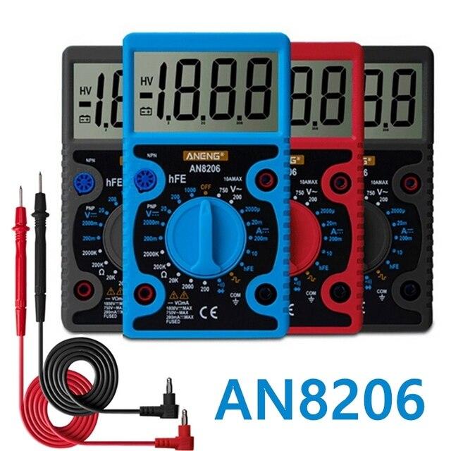 AN8206 przenośny multimetr cyfrowy AC/DC amperomierz woltomierz Ohm ręczny Mini miernik testowy podświetlenie lcd tranzystory rezystancyjne