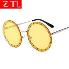 ZT Brand Designer Rhinestone Women Round Sunglasses Crystal Decoration Oversize Ladies Rimless Shades UV400