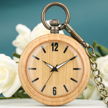 Concise Pocket Watch Men Lightweight Bamboo Dial Luminous Pointers Necklace Pendant Watch Women Gift Christmas reloj bolsillo
