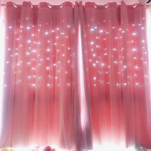 Hollow Star Pink Blackout Curtains for Living Room Bedroom Window Curtain for Princess Room Blinds Stitched With White Voile 1pc(China)