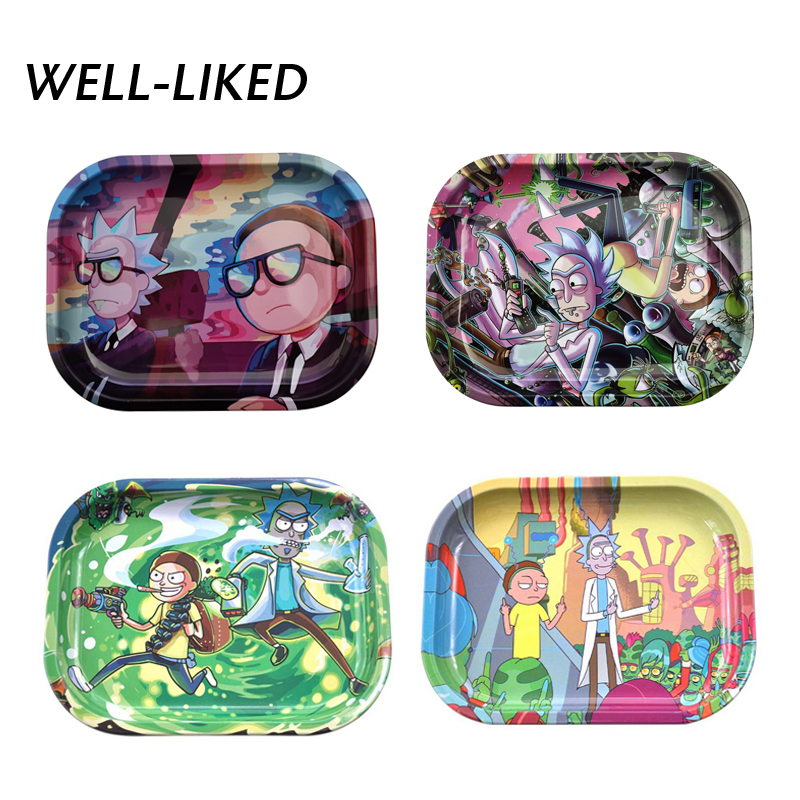 Hot Design Cartoon Tobacco Rolling Trays Carton Metal Rectangle Plate Storage Tray Rolling Paper Tray Gifts For Father
