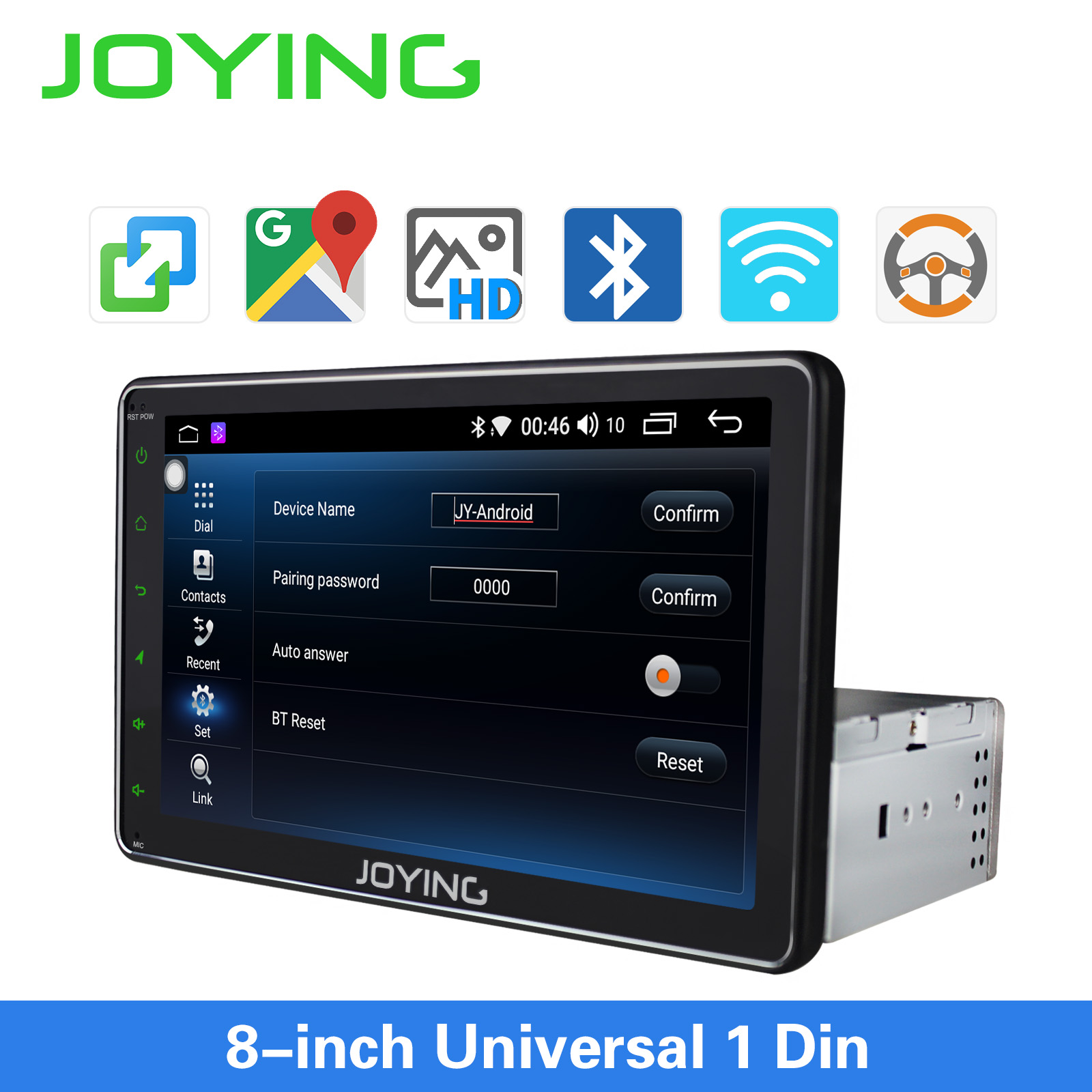 Single 1 din Car GPS Navigation with Mirror Link Glonass 8 HD Universal Android Car Radio Steering Wheel Control/Camera No DVD image