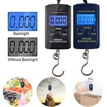 40 кг/100 г ЖК-цифровые весы для багажа, портативные Висячие Крючки, электронные весы для рыбалки, путешествий, весы для баланса веса, подсветка или нет