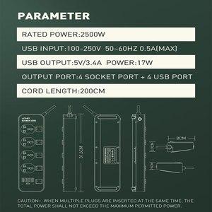 "Image 5 - האיחוד האירופי/ארה""ב/בריטניה 10A 2500W חשמל שקע מתג תקע חשמל רצועת 4USB חכם הארכת תכליתי אספקת מטען מתאם"