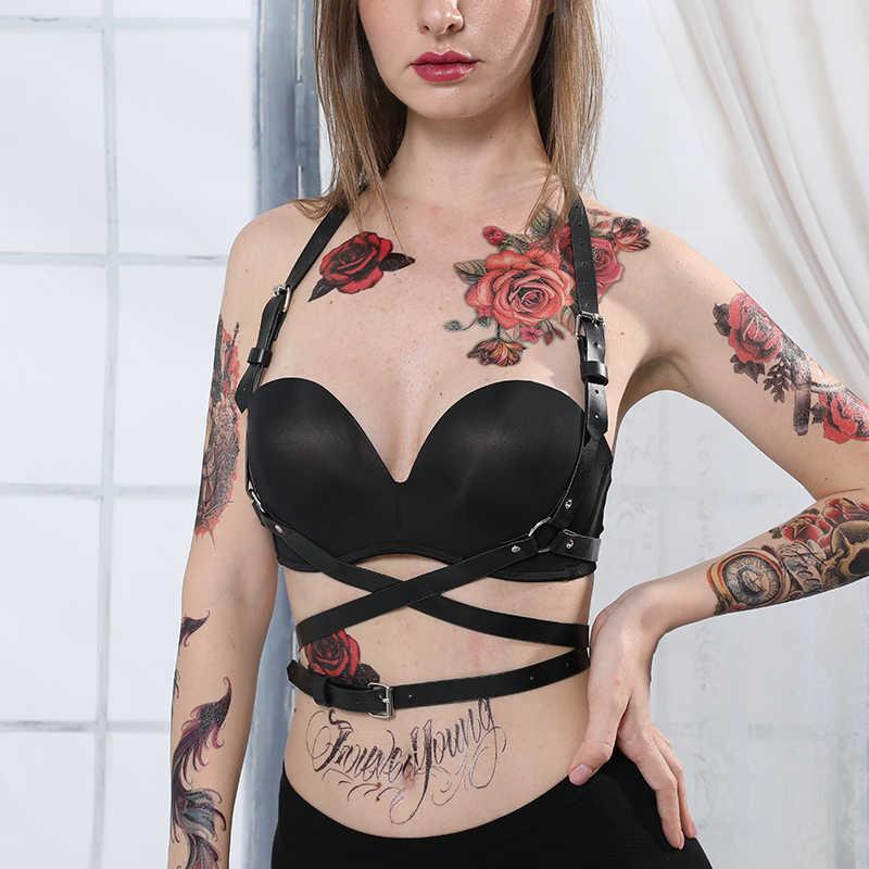 2 Pcs Vrouwen Crop Top Kousen Bra Bondage Harnas Been Bondage Porm Jurk Erotische Accessoires Verstelbare Lederen Harnas