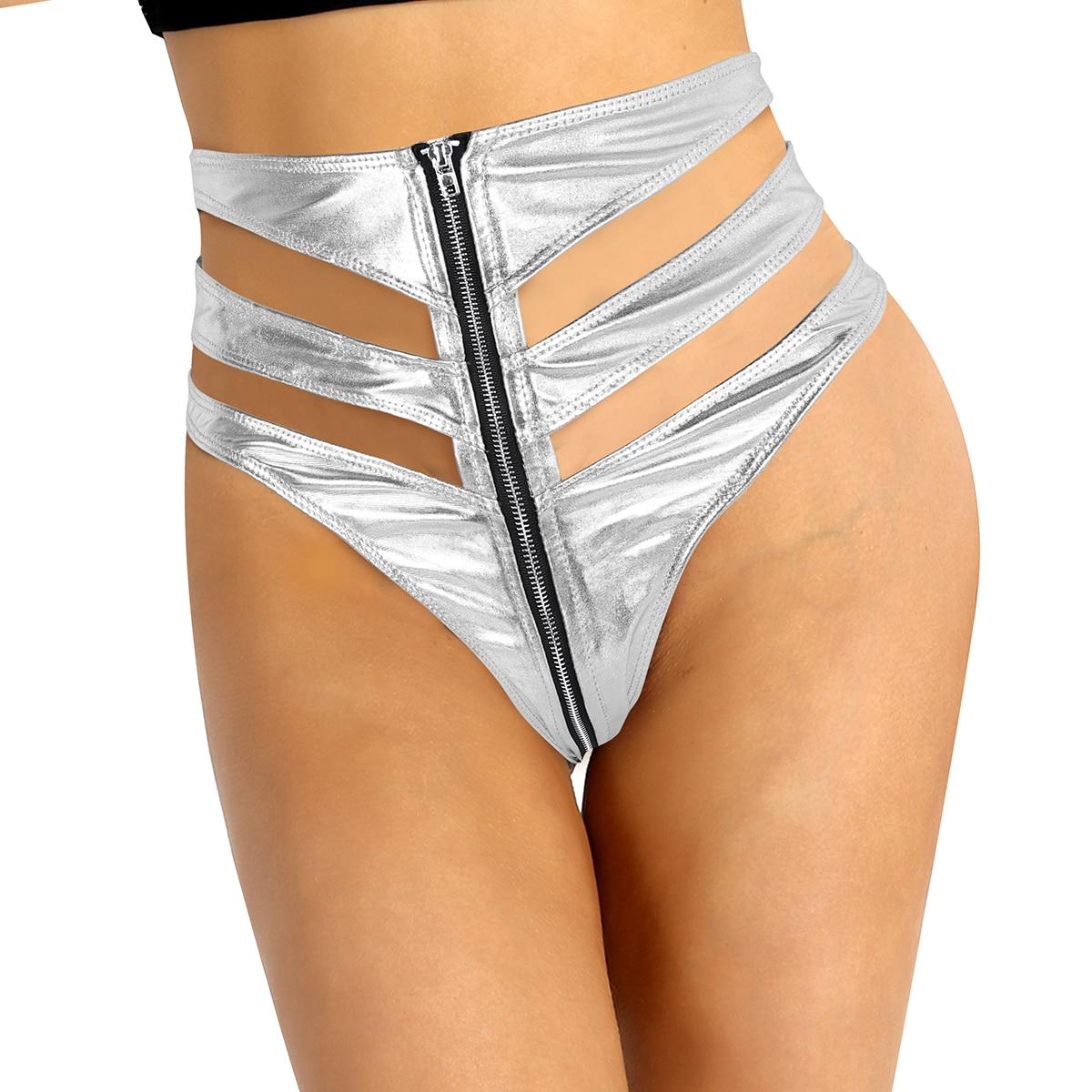TiaoBug Shiny Metallic High Waist Front Zipper Women Hot Sexy Mini Booty Shorts Nightclub Party Rave Stage Pole Dance Costume
