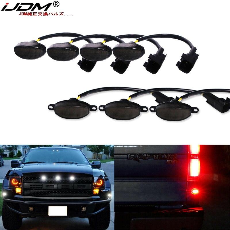 Luzes running da grade dianteira de ijdm e luzes laterais dianteiras/traseiras do marcador para 2010-2014 ford raptor amortecedor dianteiro estacionamento luz de condução