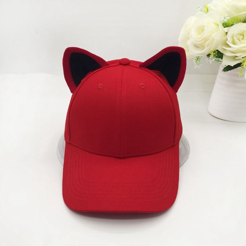The new cat ears baseball cap for women and girl made of pure cotton equestrian cap topi female cute hat
