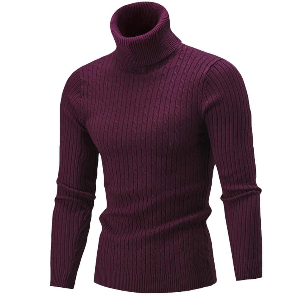 ファッション冬のシックな男性ソリッドカラータートルネック長袖ニットセーター底入れトップアクリルセーター標準ウール M-3XL
