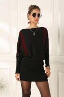 bat sleeves vertical stripes wrap buttocks long sleeves large loose sweater dress women sweaters long oversized sweater