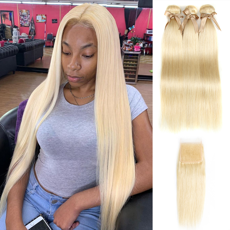 Honey Blonde Bundles With Closure Cosplay Bone Straight Human  Hair   Virgin Hair 613 Bundles And A Closure 1