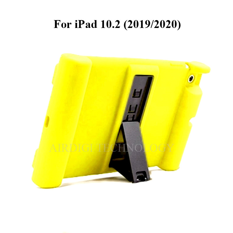 yellow Yellow Soft Shockproof Silicone Cover Kickstand Case for iPad 10 2 A2198 A2200 A2197 A2270 A2428 A2429