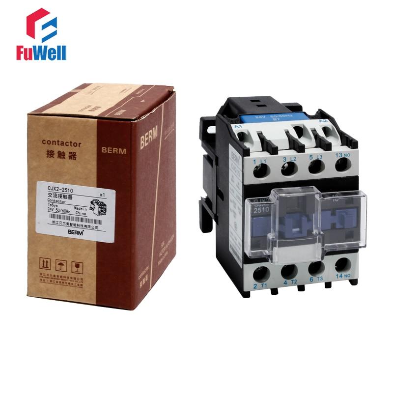 AC Contactor CJX2-2510 25A NO 24V 36V 48V 110V 220V 380V Coil Voltage Contactor Normal Open Alternating Current Contactor