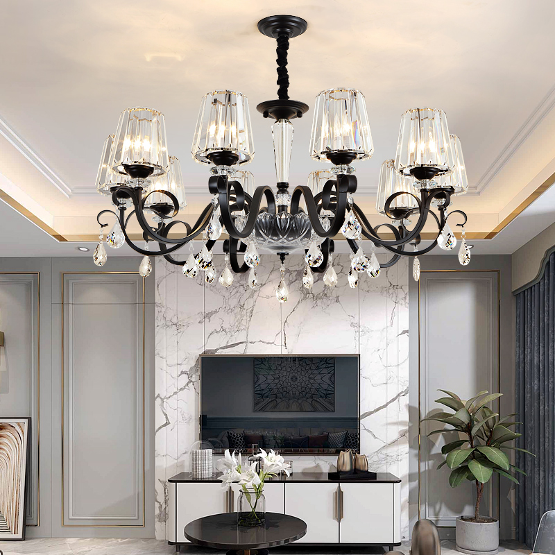 Avize Crystal Chandelier Indoor Lighting Black Chandeliers Loft Lusters Cristal For Living Room Bedroom Kitchen Fixture Lights