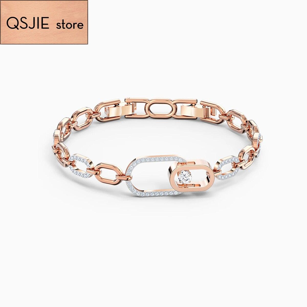 QSJIE Swa1: 1 fashionable layered hollow oval CLASP BRACELET smart oval Rose Gold Bracelet Glamorous fashion jewelry