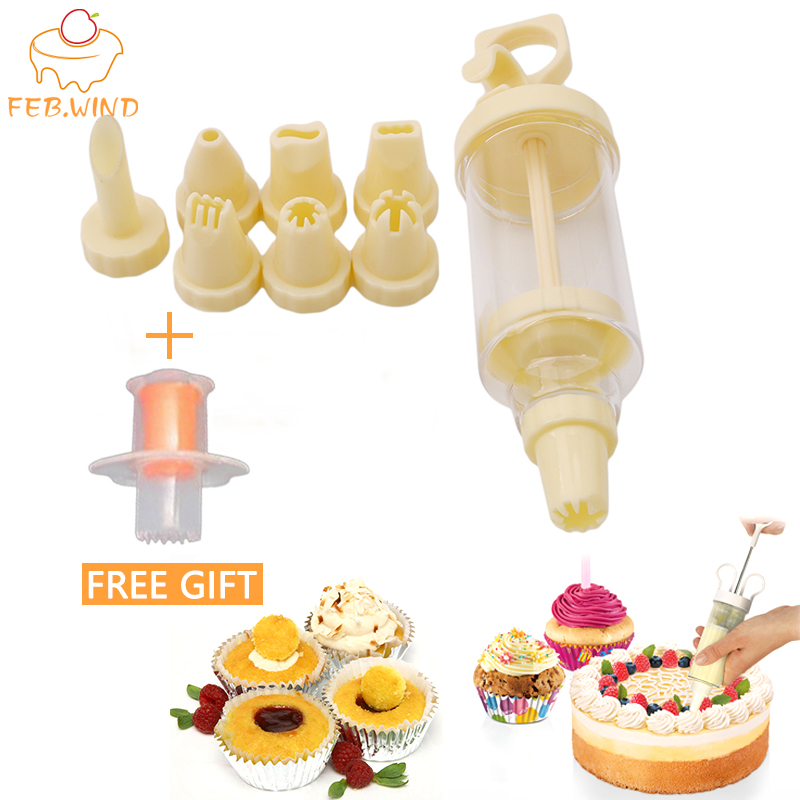 Cake Decorating Tools Piping Sets Injector Cupcake Icing/Filler Tools With Piping Nozzles Dessert Decorators Free Hole Punch 463