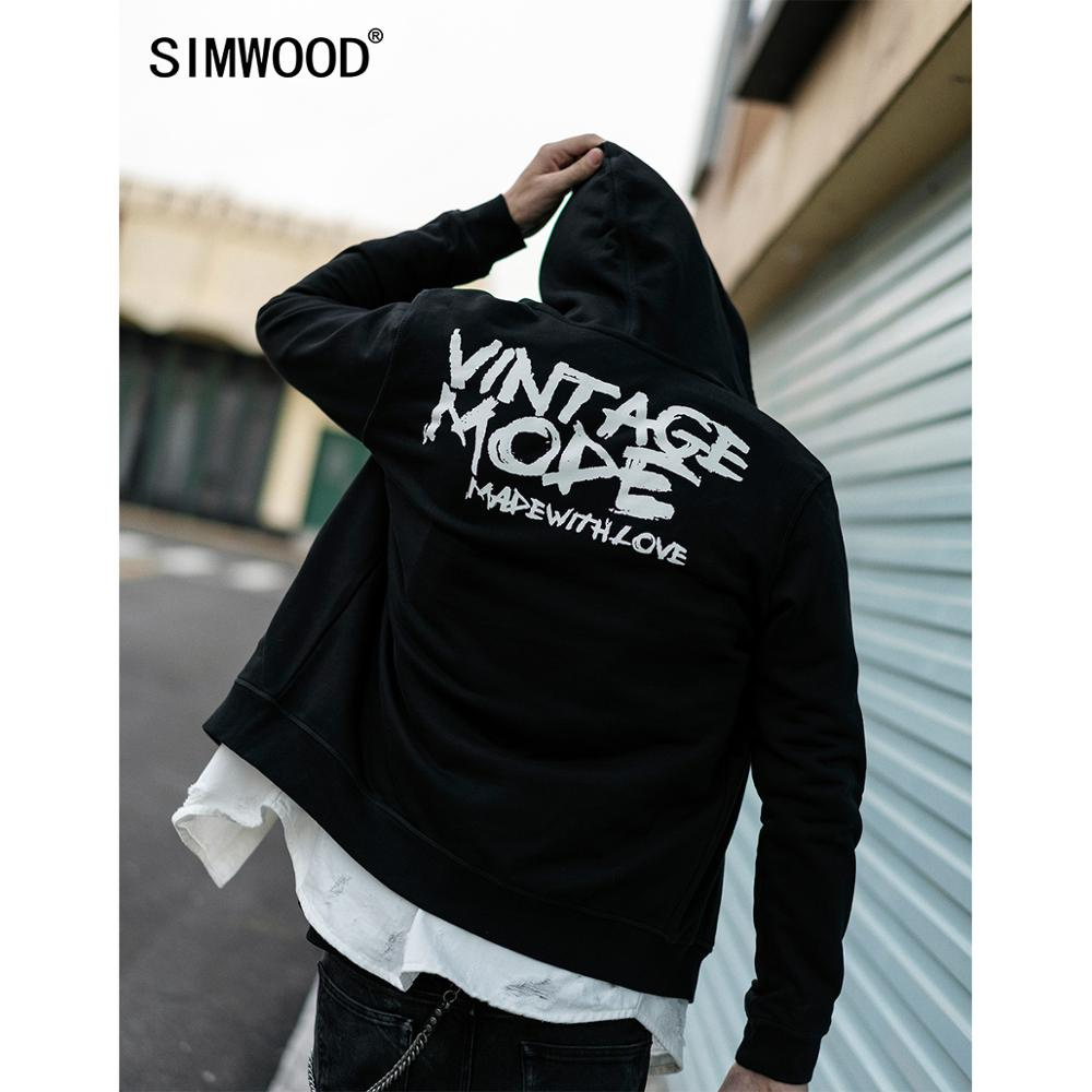SIMWOOD 2020 Spring Zip-up Hoodies Men Streetwear Sweatshirts Brand Clothing Plus Size Hooded Free Shipping 190370