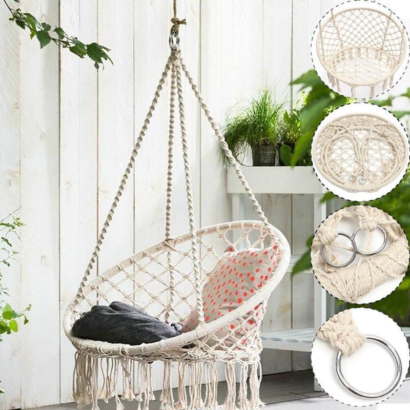 Safe Beige Hanging Hammock Chair Swing Rope Outdoor Indoor Bar Garden Seat Lazy Chair