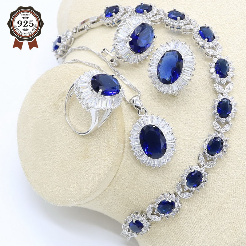 Jewelry-Set Bracelet Pendant-Ring Necklace Hoop-Earrings Zircon 925-Silver Women
