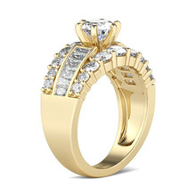 Classic Gold Color Round Cut White Zircon Rings for Bridal Wedding Engagement Ring Lover's Jewelry Silver Rings Accessories