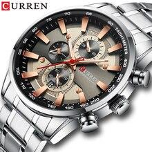 CURREN Reloj de pulsera para hombre, con correa de acero inoxidable, de cuarzo, cronógrafo, indicadores luminosos, relojes deportivos únicos