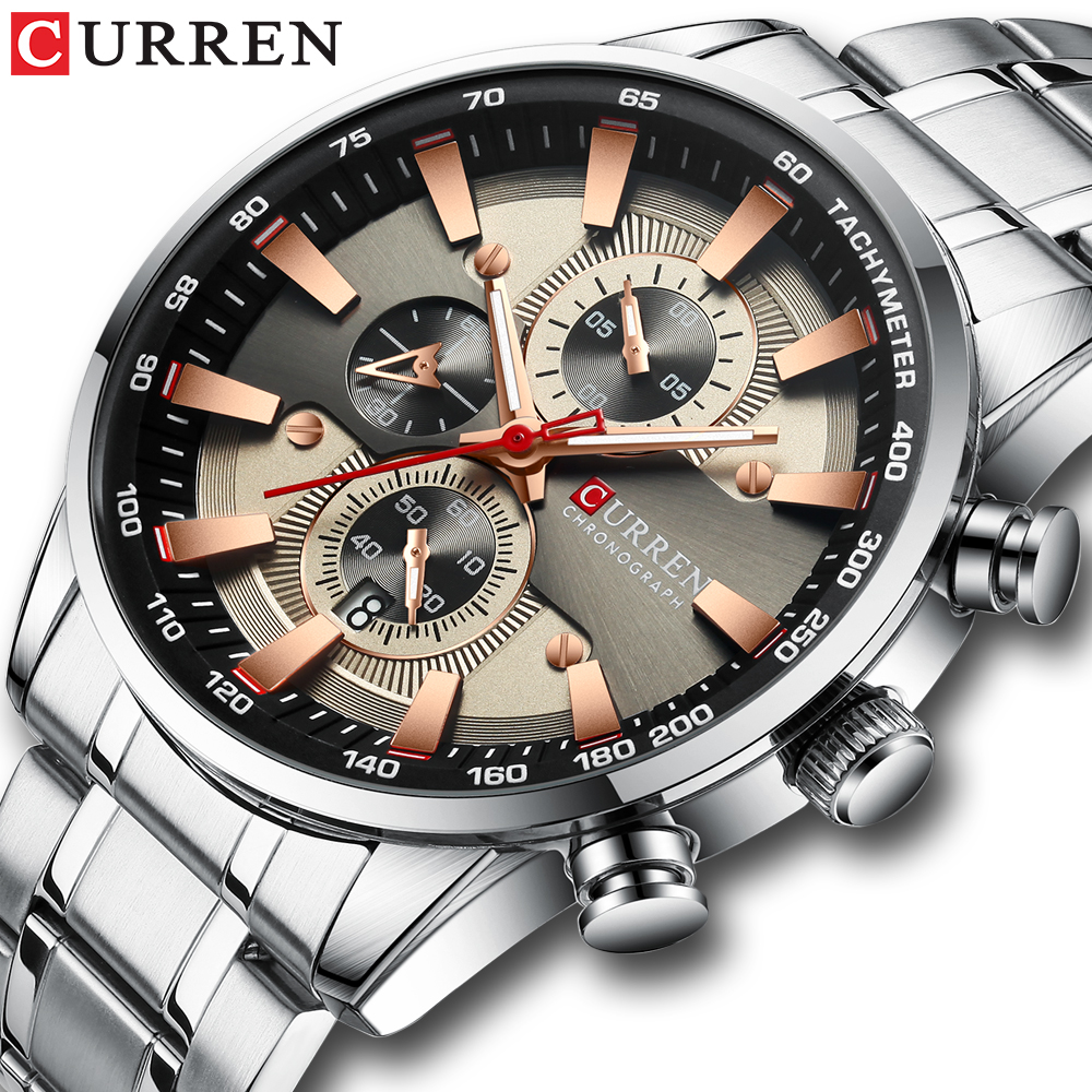 CURREN Watch Men's Wristwatch With Stainless Steel Band Fashion Quartz Clock Chronograph Luminous Pointers Unique Sports Watches