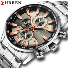 CURREN Watch Mens Wristwatch with Stainless Steel Band Fashion Quartz Clock Chronograph Luminous pointers Unique Sports Watches