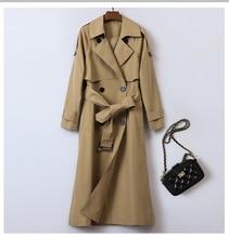 2019 womens autumn new windbreaker lapel British long slim double-breasted jacket, Тренч, тренчжен