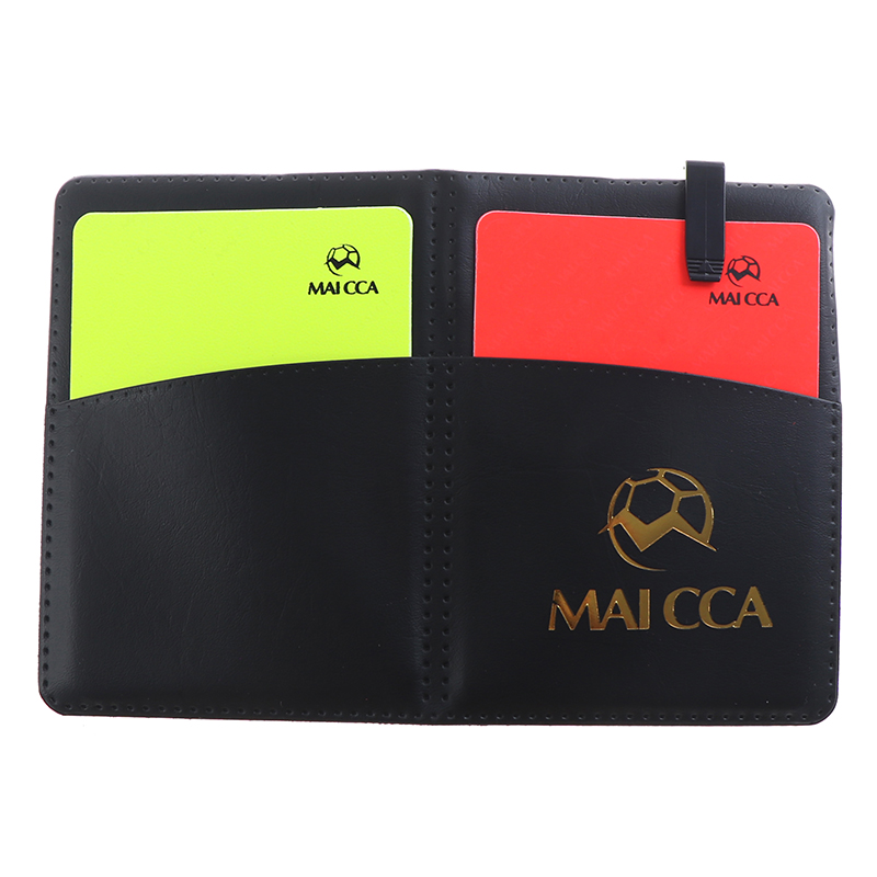 Soccer Referee Red Yellow Card Professional Fair Play Cards Football Linesman Leather Case Bag Set Sports Game Equipment