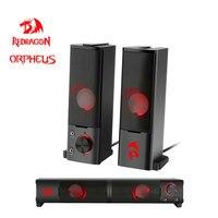 Redragon-altavoces estéreo surround para videojuegos, barra de sonido de columna para ordenador y PC, Orpheus GS550 aux 3,5mm