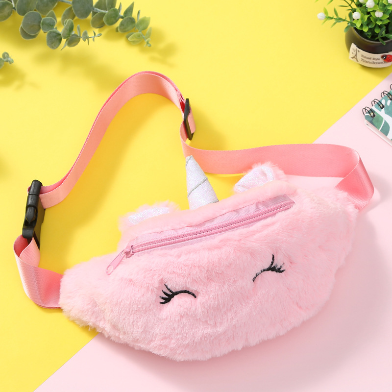 Student Cartoon Girls Unicorn Waist Bag Kids Pink Fanny Pack Cute Plush Women Belt Bag Fashion Travel Phone Chest Bag Pauch