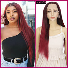 MANWEI Wine red gradient long straight hair lace synthetic hair female dark wine red daily party cosplay long hair(China)