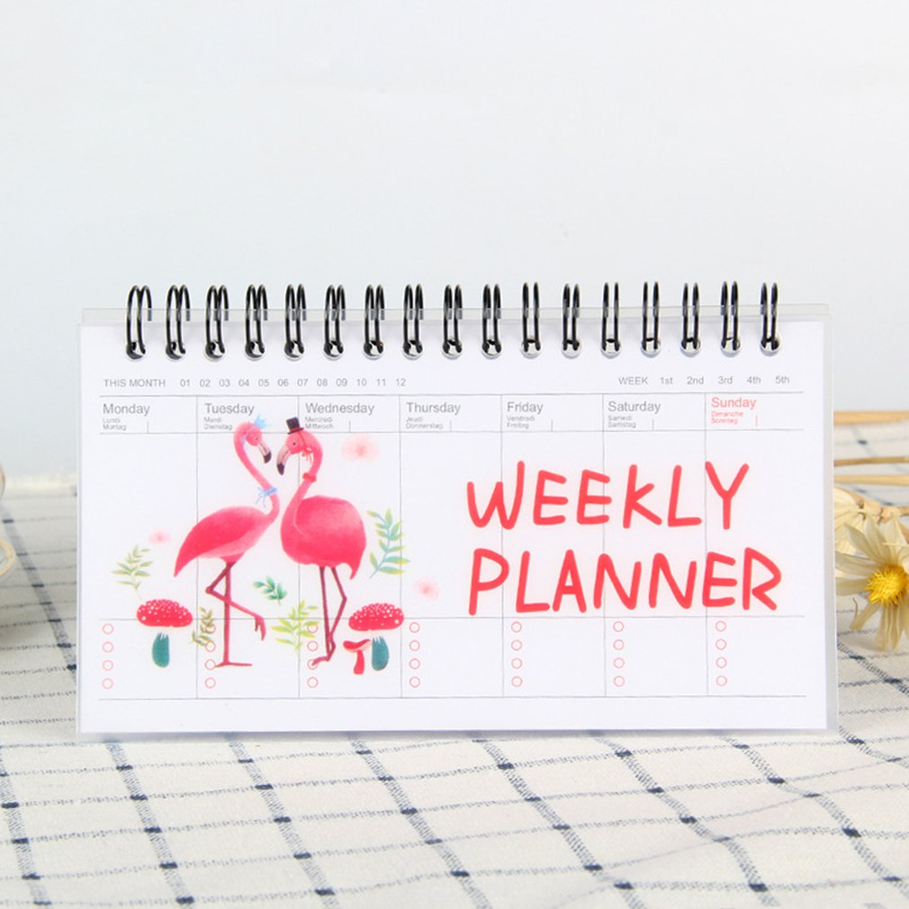 Korean Stationery Notebook Cartoon Animals Can Tear Week Plan Schedule Book Student Portable Coil Flip Book