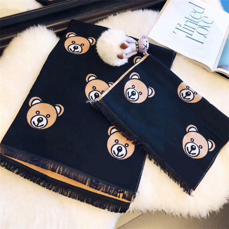 Korean Version Of New Scarf In 2019,Fashion Winter Warm Shawl Bear Pattern Imitating Cashmere Scarf Student Parent-child Scarf