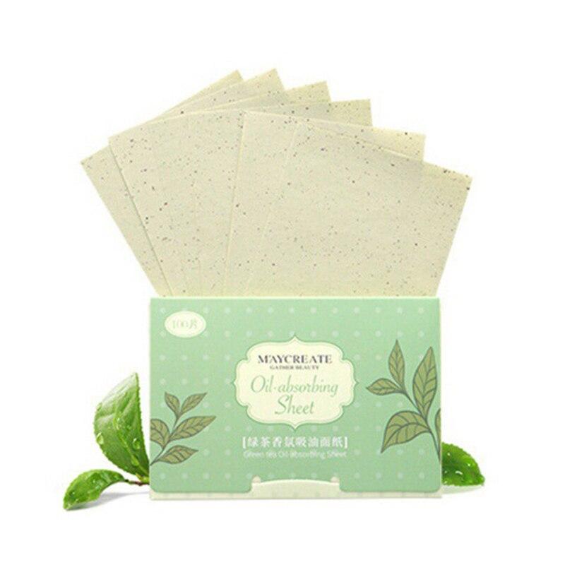 100 штук Очищение лица масло промокающая бумажная маска Макияж Уход за кожей продукты для мужчин и женщин масло промокающие листы - Количество: 04 green tea