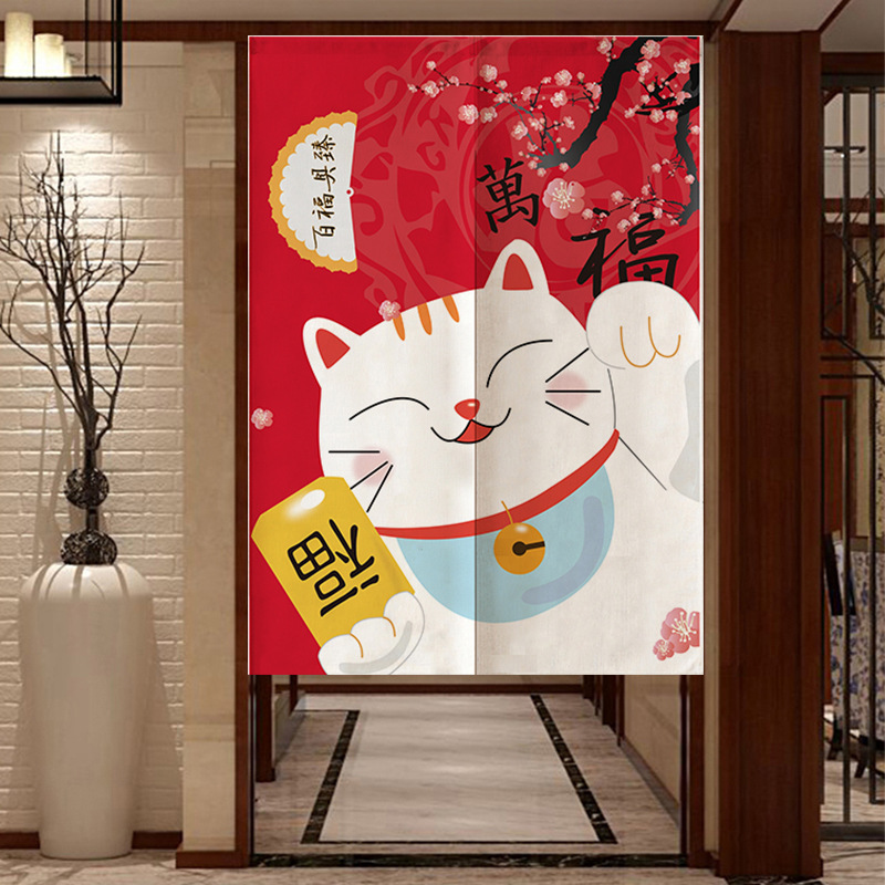 Japanese Style Curtains For Kitchen Linen Door Curtain Noren Home Entrance Decoration Customizable Curtain For Living Room