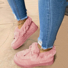 Cotton Shoes Short-Boots Furry Warm Plush Females Flat Women Winter Casual Ladies Bowknot