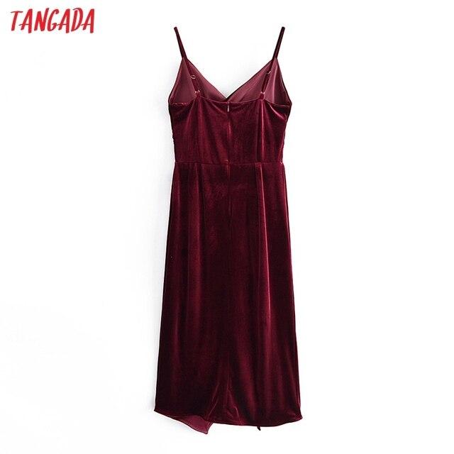 Tangada Women's Party Dress Red Velvet Midi Dress Strap Adjust Sleeveless 2021 Korean Fashion Lady Elegant Dresses QN45 6
