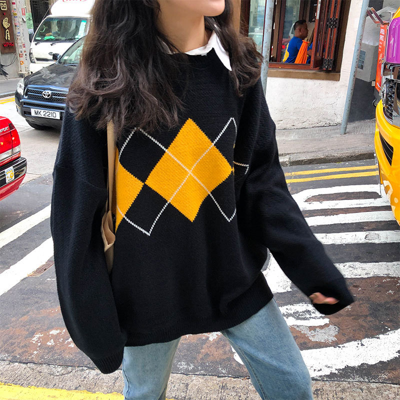 Korean College Style Autumn Winter Geometric Pattern Argyle Pullovers Loose Oversized O Neck Knitted Sweaters Woman Jumper Mujer