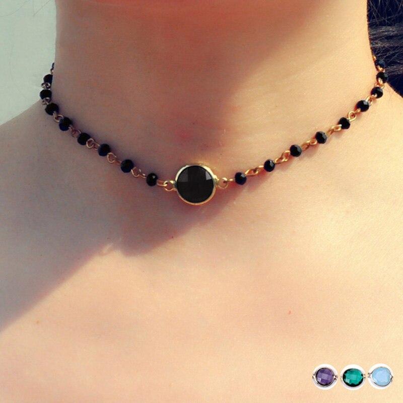 Купить модное зеленое и черное ожерелье чокер с кристаллами для женщин