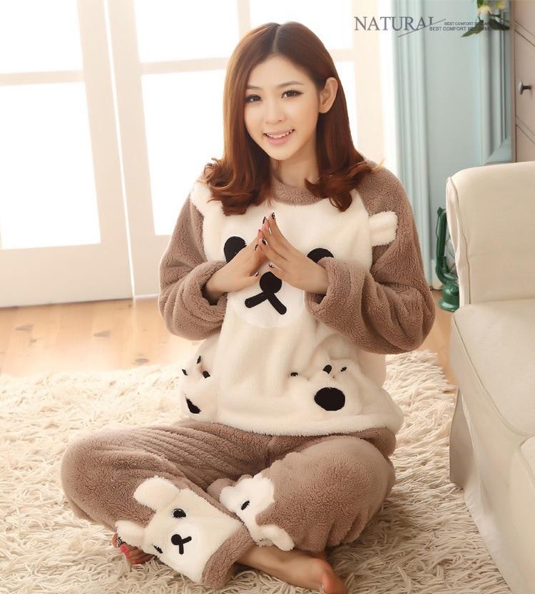 [According Feminine] Autumn & Winter Pajamas Women's Light Brown Biscuit Bear Coral Velvet Flannel Homewear Set