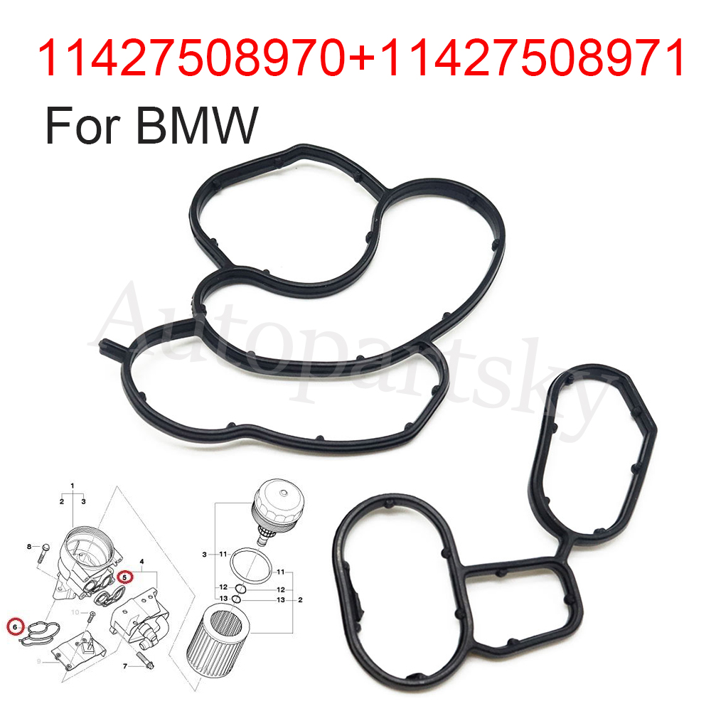 [Set of 2PCS]Engine Oil Cooler Filter Housing Element Set Gasket Seal 11427508970 11427508971 For BMW E81 E87 E46 E90 E60 E83 image