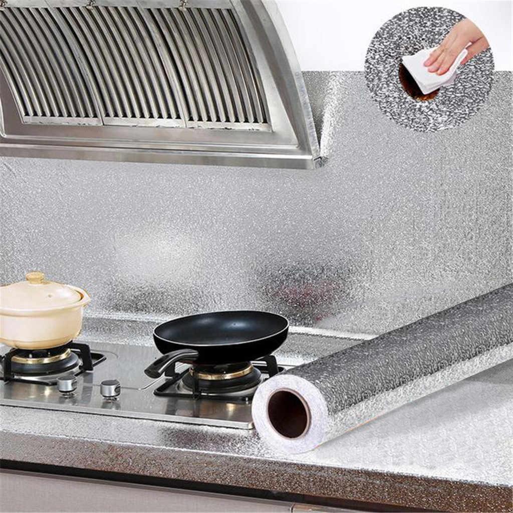 60x100cm מטבח שמן הוכחה עמיד למים מדבקות אלומיניום רדיד מטבח ארון עצמי דבק מדבקות קיר DIY טפט # T2