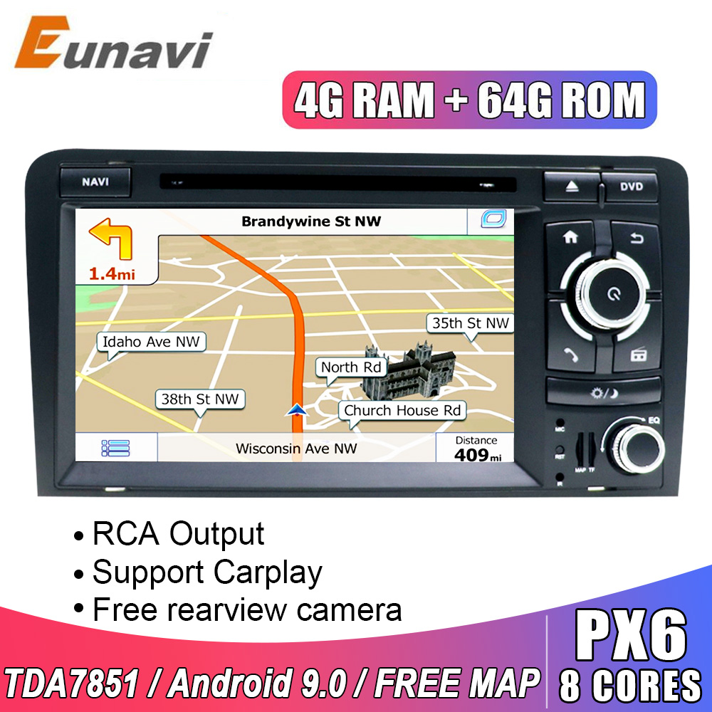 Eunavi Android 9,0 4G 64G 2 DIN AUTO DVD GPS Für Audi A3 8P 2003-2012 s3 2006-2012 RS3 Sportback 2011 multimedia player 8 Kerne