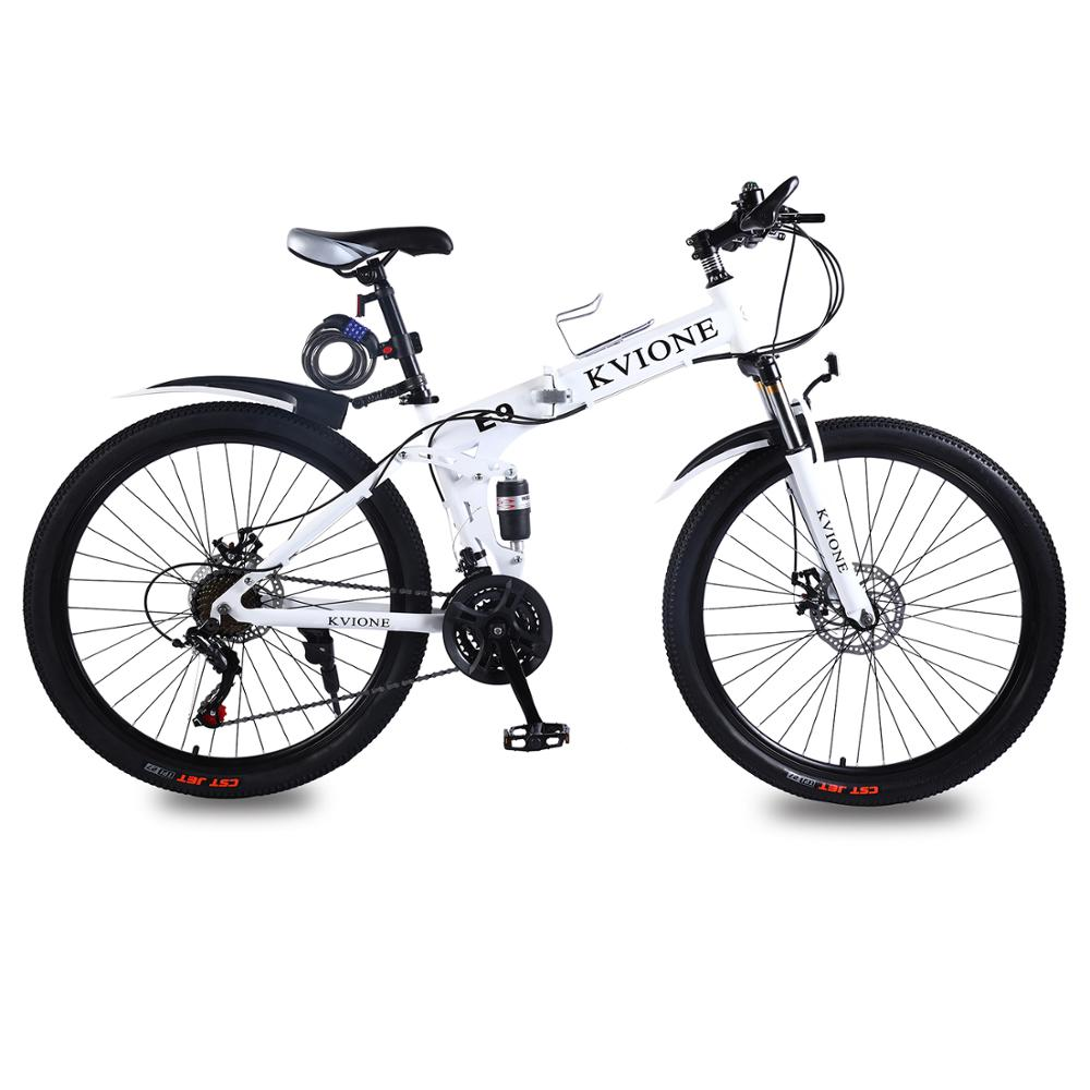 KVIONE E9 Men Women Mountain Bike Mountain Bicycle  26 Inches MTB High-carbon Steel Bike With 21-speed Disc Brake Folding Bike