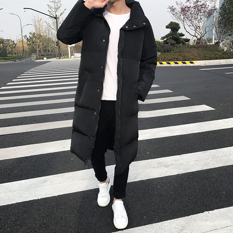 2018 Autumn And Winter New Style Men Mid-length Cotton-padded Clothes Fashion Plus-sized Hooded Long-sleeved Coat Lm903