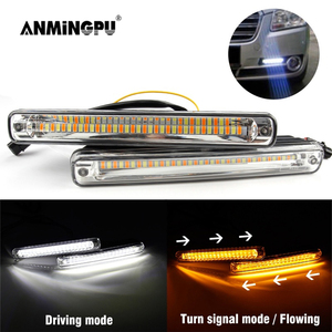 ANMINGPU 1pair 12V Sequential LED DRL Daytime Running Light Waterproof White DRL Yellow Turn Signal Light for Car Light Assembly