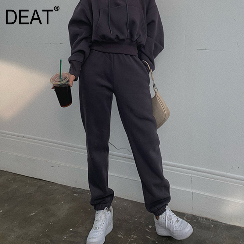 DEAT 2020 New High Waist Pocket Loose Full Length Pants Spring High Street Fashion Women Trousers All Match WK73302L