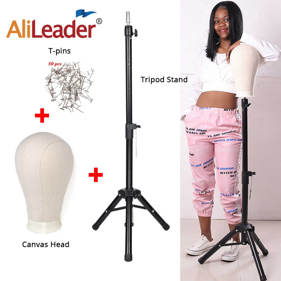 Alileader Adjustable Wig Stand Wig Tripod With Canvas Head Training Mannequin Head Wig Tripod Wig Making Kit Wig Tripod Stand